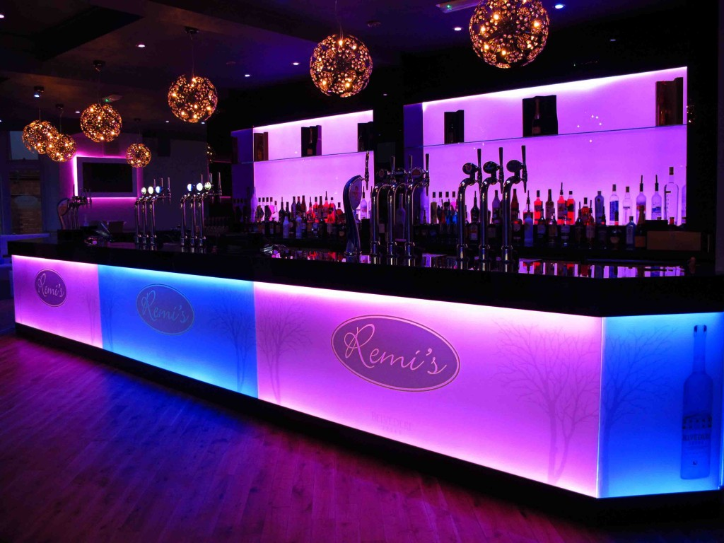 Illuminated glass splashback - Remi's bar pink & blue LED splachback