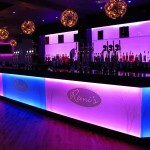 Illuminated glass bar pink & blue